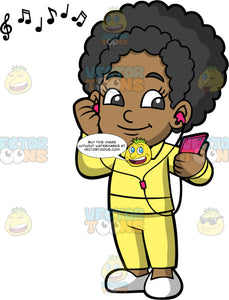 Young Jackie Listening To A Song On Her Headphones. A black girl wearing a yellow track suit and white shoes, holding a pink cell phone and listening to music through headphones