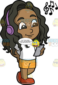 Young Maggy Walking And Listening to Music. A black girl wearing yellow shorts, a white t-shirt, and orange shoes, listening to music on blue tooth headphones while walking