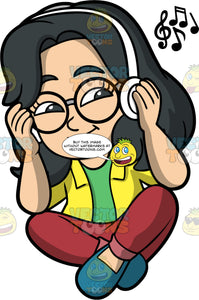 Young Lynn Listening To Music On Blue Tooth Headphones. An Asian girl wearing burgundy pants, a yellow shirt over a green t-shirt, blue shoes, and round eyeglasses, sitting down and listening to music on her blue tooth headphones