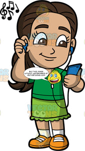 Young Isabella Smiling While Listening To Music. A Hispanic girl wearing a green skirt, a green shirt, and orange shoes, holding a blue cell phone in her hand and listening to music through headphones