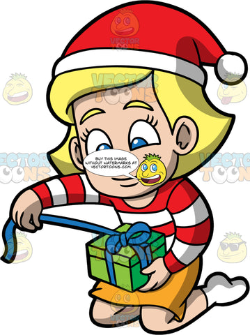 Young Mary Opening A Christmas Gift. A blonde girl wearing a yellow skirt, a red and white striped shirt, a red Santa hat, and white socks, kneeling on the floor and pulling on the blue ribbon wrapped around a green gift box