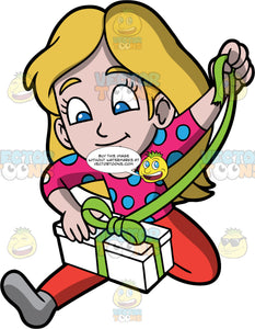 Young Stacey Opening A Christmas Present. A girl wearing read leggings, a pink and blue polka dot shirt, and gray socks, sitting on the floor and pulling on the green ribbon wrapped around a white gift box