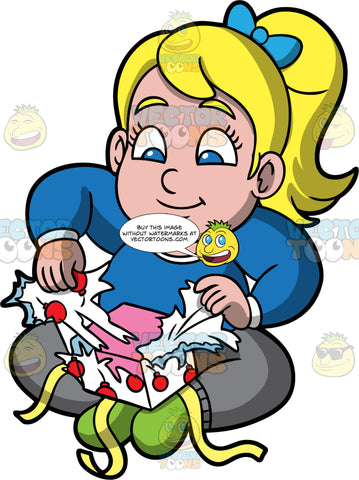 Young Pat Unwrapping A Christmas Gift. A chubby blonde girl wearing gray pants, a long sleeve blue shirt, and green socks, sitting on the floor and pulling wrapping paper off a present