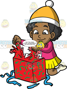 Young Jackie Unwrapping A Christmas Present. A black girl wearing a yellow skirt, a pink shirt, white socks, and yellow and white hat, kneeling on the floor and tearing the wrapping paper off a Christmas gift