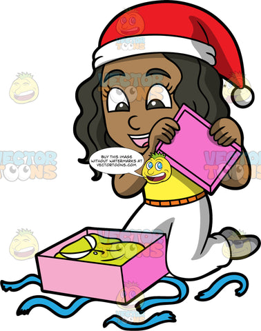 Young Maggy Opening A Gift Box. Young Maggy wearing white pants, a yellow shirt, gray socks, and a red and white Santa hat, kneeling on the floor and taking the lid off a gift box
