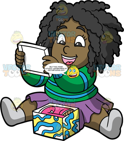 Young Lisa Opening A Gift Box. A black girl wearing a purple skirt, a green and blue sweater, and gray socks, sitting on the floor and taking the lid off a gift box