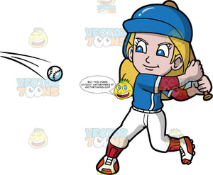 Young Stacey Getting Ready To Hit A Baseball. A young girl wearing a baseball uniform, cleats, and a blue protective helmet, swinging a baseball bat behind her back as she prepares to hit a baseball coming towards her