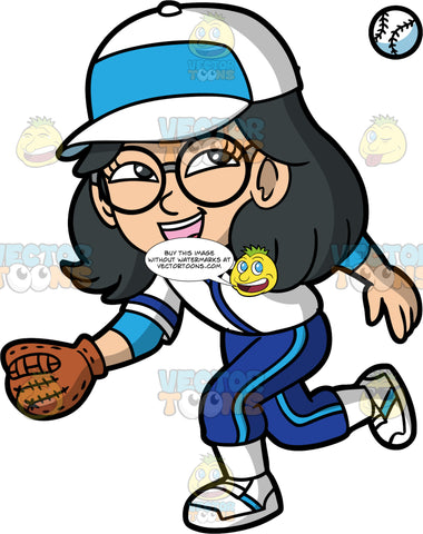 Young Lynn Holding Her Glove Out To Catch A Baseball. A young Asian girl wearing a baseball uniform, cleats, a baseball cap, and round eyeglasses, runs to catch an approaching baseball