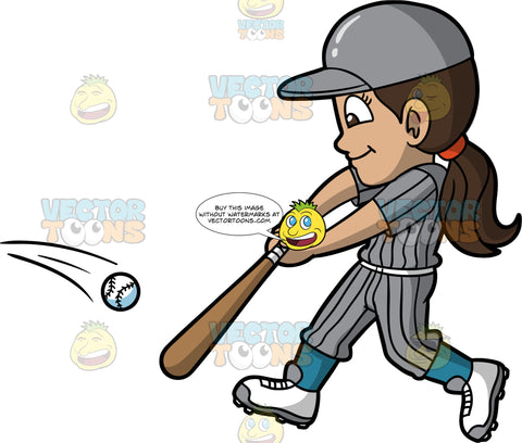 Young Isabella Hitting A Ball With Her Baseball Bat. A young Hispanic woman wearing pin striped baseball uniform, cleats, and a protective helmet, holds a baseball bat in front of her body and hits the ball with it