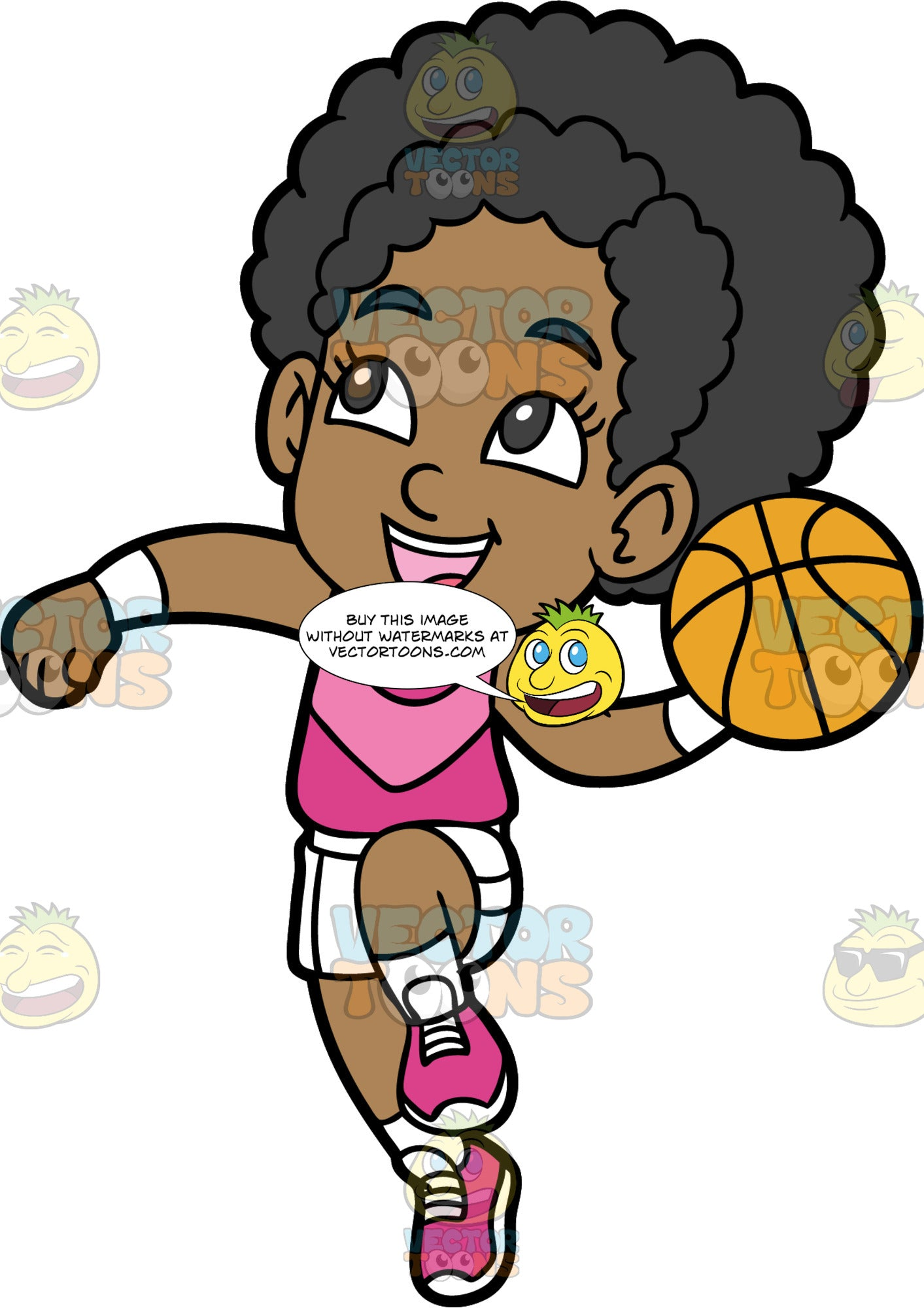 Young Jackie Preparing To Throw A Basketball. A young black girl wearing white shorts, a pink tank top, white socks, and pink shoes, jumping up and getting ready to throw the ball in her hand