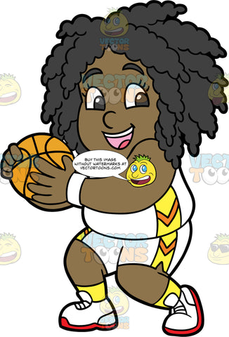 Young Lisa Holding A Basketball. A young black girl wearing white shorts with yellow and orange design, a matching tank top, yellow socks, and white running shoes, holding onto a basketball to keep it away from the other team