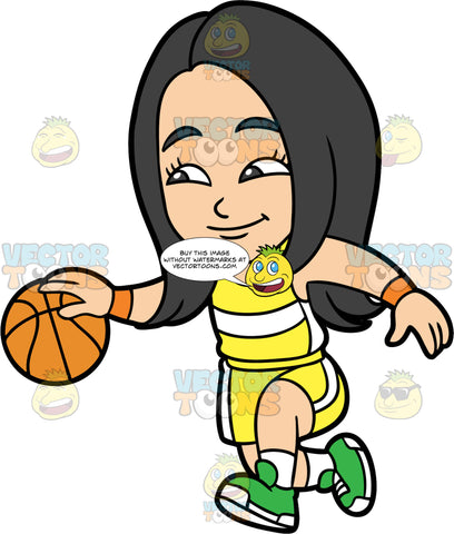 Young Connie Dribbling A Basketball. A young Asian girl wearing yellow shorts, a yellow tank top with a white stripe across the middle, and green running shoes, dribbles a basketball down the court during a game
