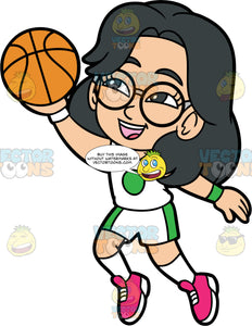 Young Lynn Having Fun Playing Basketball. A young Asian girl wearing white shorts with green stripes down the sides, a white tank top with a green circle in the middle, pink running shoes, and round eyeglasses, smiles and jumps up with a basketball in her hand