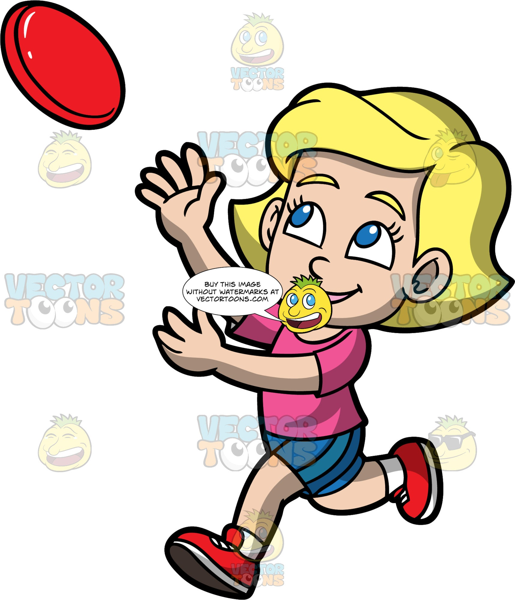 Mary Trying To Catch A Frisbee. A blonde girl wearing blue shorts, a pink shirt, and red shoes, running and reaching her arms up to catch a red frisbee