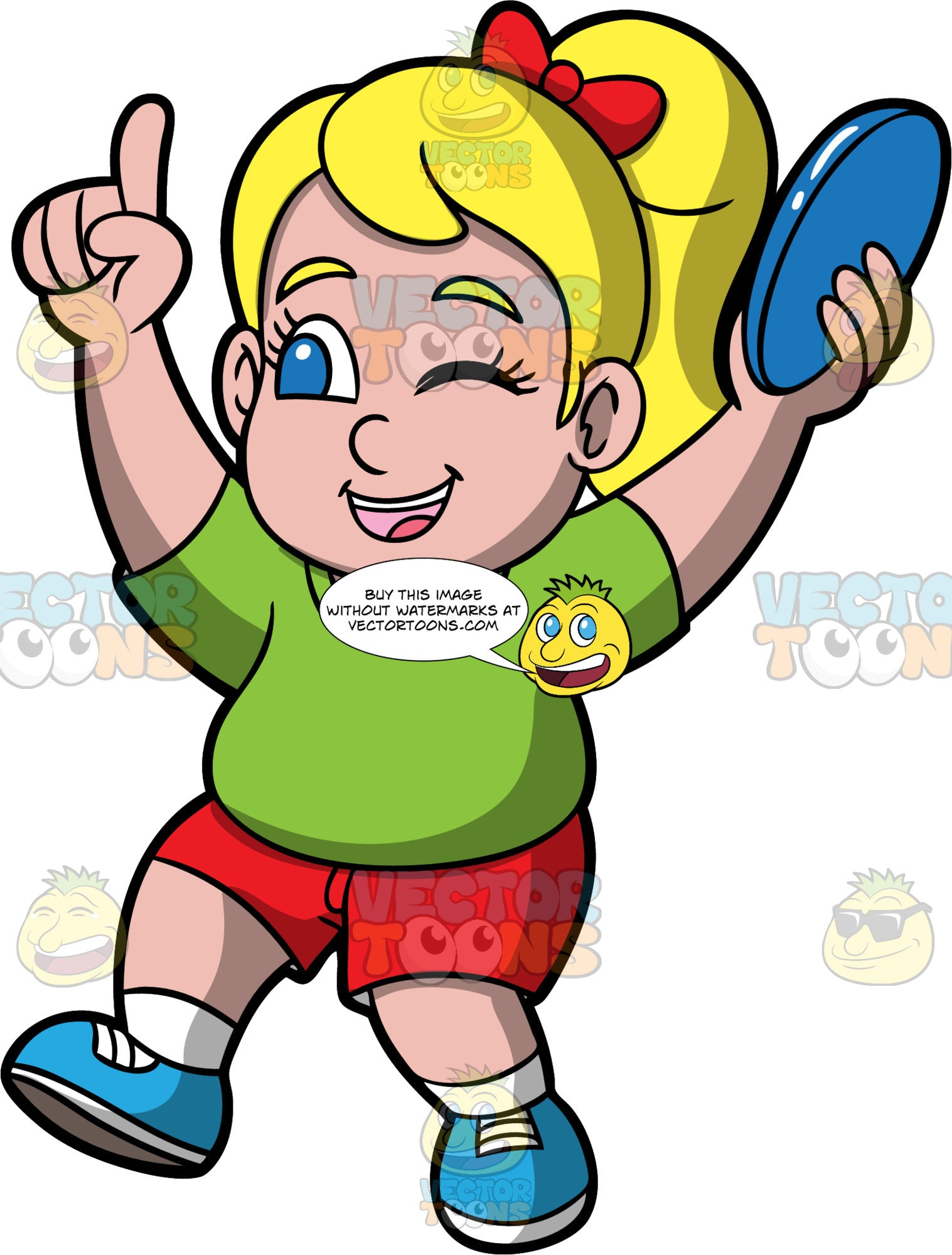 Young Pat Holding A Frisbee. A chubby blonde girl wearing red shorts, a green t-shrit, and blue running shoes, winking and holding a blue frisbee in her hand