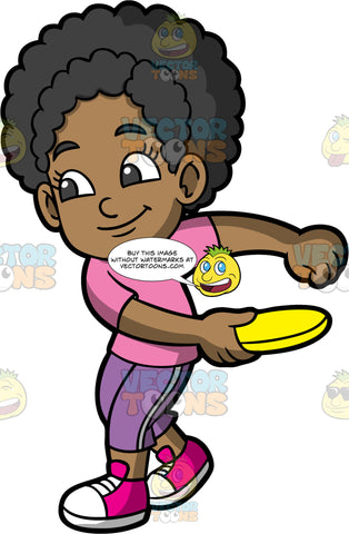 Young Jackie Getting Ready To Throw A Frisbee. A black girl wearing purple pants, a pink shirt, and pink and white shoes, preparing to throw the yellow frisbee in her hand