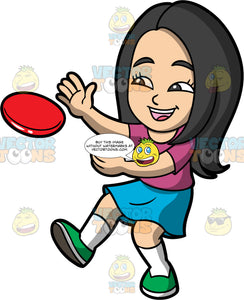 Young Connie Trying To Catch A Frisbee. An Asian girl wearing blue skirt, a purple shirt, and green shoes, leaning back and holding her arms out to catch a frisbee