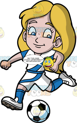 Young Stacey Having Fun Playing Soccer. A young girl wearing white with blue shorts, a white and blue shirt, blue socks, and white soccer cleats, bending her leg behind her in order to kick a soccer ball