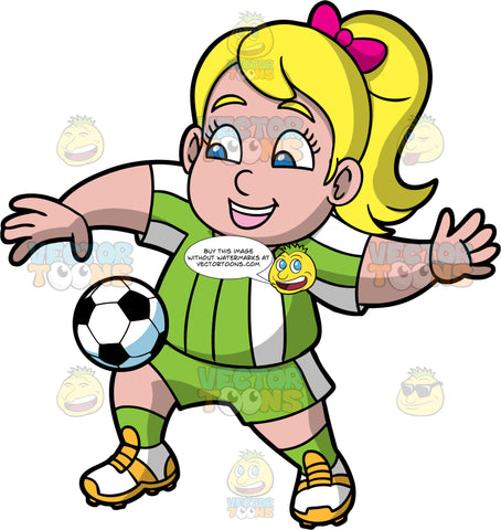 Young Pat Bouncing A Soccer Ball On Her Knee. A young blonde girl wearing green shorts, a green with white shirt, green socks, and soccer cleats, smiles as she bounces a soccer ball on her knee