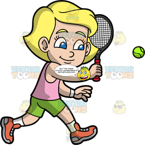 Young Mary Runs To Hit A Tennis Ball. A young blonde girl wearing green shorts, a pink tank top, white socks, and orange tennis shoes, runs towards a tennis ball in order to hit it with her racquet