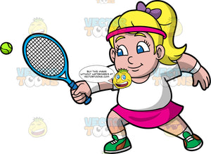 Young Pat Reaching To Hit A Tennis Ball. A young blonde girl wearing a pink skirt, white t-shirt, white socks, green tennis shoes, and a pink headband, reaches forward to hit a tennis ball coming towards her