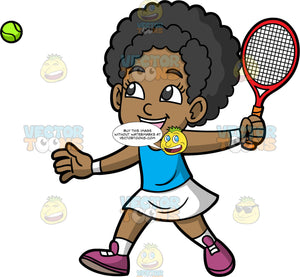 Young Jacke Playing A Game Of Tennis. A young black girl wearing a white skirt, a blue tank top, white socks, and purple running shoes, lifts her hand up in the air and gets ready to hit a tennis ball with the racquet in her hand