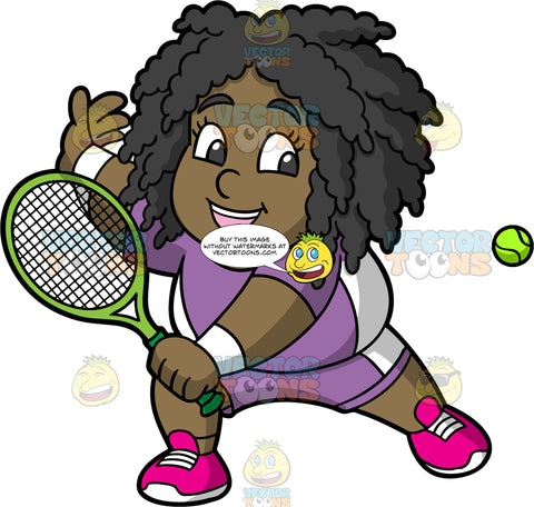 Young Lisa Preparing To Hit A Tennis Ball. A young black girl wearing purple with white shorts, a matching shirt, and pink running shoes, holds a tennis racquet in her hand and gets ready to hit an approaching ball