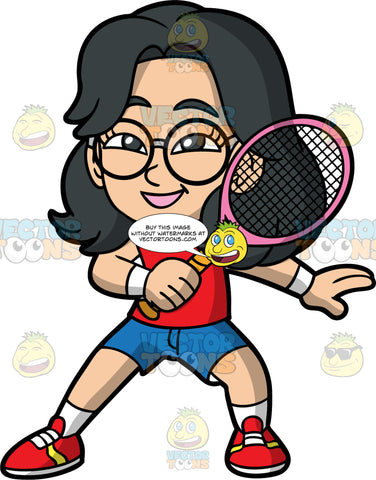 Young Lynn Playing Tennis. A young Asian girl wearing blue shorts, a red tank top, white socks, red tennis shoes, and round eyeglasses, smiling and holding a tennis racquet