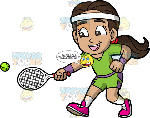 Young Isabella Having Fun Playing Tennis. A young Hispanic girl wearing green with purple shorts, a green shirt, white socks, pink running shoes, and a white headband, reaches her arm out to try and hit a tennis ball with the racquet in her hand