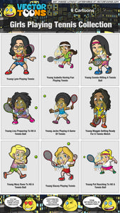 Girls Playing Tennis Collection