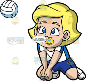 Young Mary Crouching Down To Hit A Volleyball. A young blonde girl wearing dark blue shorts, a white with blue shirt, and white shoes, crouching down on her knees and putting her fists together in order to hit a volleyball coming towards her