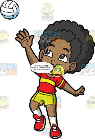 Jackie Having Fun Playing Volleyball. A young black girl wearing yellow shorts, a red with yellow shirt, white socks, and red shoes, gets ready to serve a volleyball