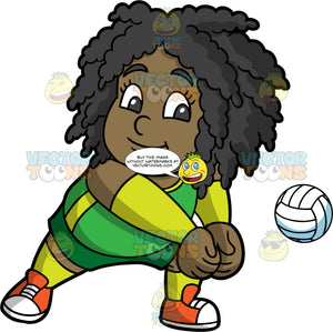 Young Lisa Enjoying A Game Of Volleyball. A young black girl wearing green shorts, a green tank top, wrist guards, and orange sneakers, turning her body to the side and putting her fists together so that she hit a volleyball coming towards her