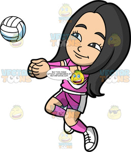 Young Connie Using Her Fists To Hit A Volleyball. A young Asian girl wearing pink with white shorts, a pink with white shirt, pink socks, white shoes, and pink wrist guards, jumping and putting her fists together to bump a volleyball