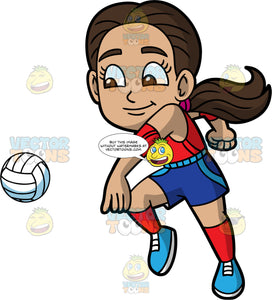 Young Isabella Preparing To Hit A Volleyball. A young Hispanic girl wearing dark blue shorts, a red tank top, red socks, and blue shoes, reaches her arm behind her and gets ready to hit a volleyball coming towards her