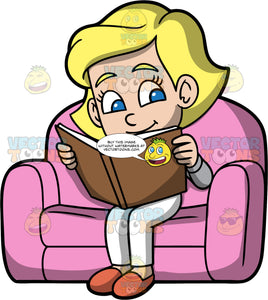 Young Mary Reading An Interesting Book. A blonde girl wearing white pants, a gray shirt, and slippers, sitting in a big comfortable pink chair reading a book