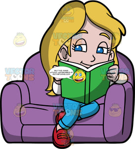 Young Stacey Reading A Book. A girl wearing blue pants, a white shirt, and red shoes, sitting in a big purple chair reading a book with a green cover