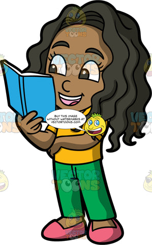 Young Maggy Reading A Book While Standing. A black girl wearing green pants, a yellow shirt, and pink shoes, standing and reading a book with a blue cover