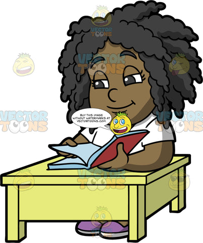 Young Lisa Reading A Good Book. A black girl wearing a white shirt, sitting at a yellow table and reading a book