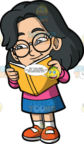 Young Lynn Reading An Interesting Book. An Asian girl wearing a blue skirt, a pink shirt, orange shoes, and eyeglasses, standing and reading a book