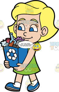 Young Mary Carrying A Full Blue Recycling Bin. A blonde girl wearing a green dress, white socks, and blue shoes, carrying a blue bin filled with items that need to be recycled