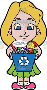 Young Stacey Holding A Blue Bin Filled With Recyclable Items. A girl wearing a green skirt, a red t-shirt, and pink shoes, holding a blue recycling bin filled with plastic, glass, and metal containers