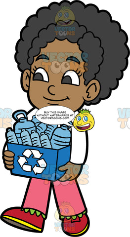 Young Jackie Carrying A Recycling Bin Filled With Plastic Bottles. A black girl wearing pink pants, a long sleeve white shirt, and red shoes, carrying a blue recycling bin filled with plastic bottles
