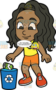 Young Maggy Throwing A Soda Can Into A Recycling Bin. A black girl wearing orange shorts, a yellow tank top, and red shoes, throwing an empty soda can into a recycling bin