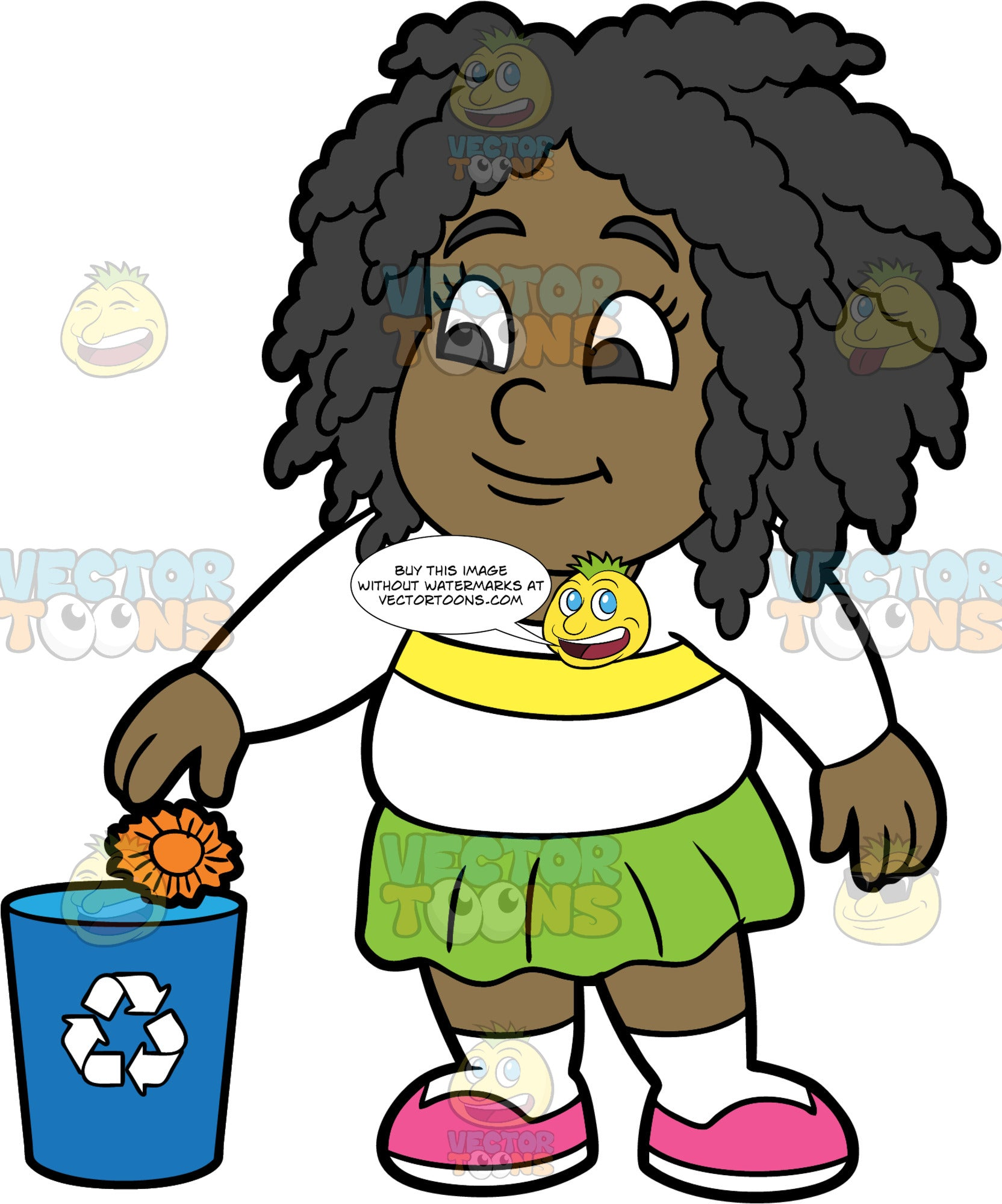 Young Lisa Throwing A Piece Of Paper Into A Recycling Bin. A black girl wearing a green skirt, a white shirt with a yellow stripe, and pink shoes, throwing a piece of crumpled up orange paper into a recycling bin