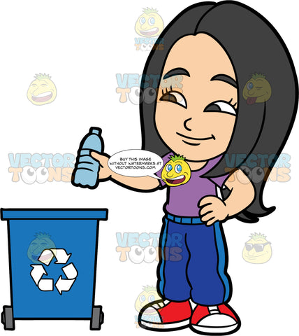 Young Connie Throwing A Plastic Water Bottle Into A Recycling Bin. An Asian girl wearing blue track pants, a purple shirt, and red shoes, throwing a plastic water bottle into a blue recycling bin