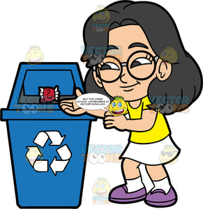 Young Lynn Throwing A Paper Wrapper Into A Recycling Bin. An Asian girl wearing a white skirt, a yellow t-shirt, purple shoes, and eyeglasses, throwing a paper wrapper into a blue recycling bin