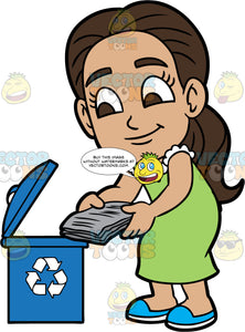 Young Isabella Throwing Newspapers Into A Recycling Bin. A Hispanic girl wearing a green dress and blue shoes, putting some old newspapers into a blue recycling bin
