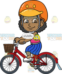 Young Jackie On A Bike Ride. A black girl wearing an orange helmet, a blue skirt, pink tank top, and white shoes, riding her red bike with a basket in front