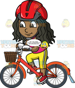 Young Maggy Riding Her Orange Bicycle. A black girl wearing a red bike helmet, yellow pants, a pink tank top, and red sneakers, going for a bike ride on her pretty orange bike with a basket in the front